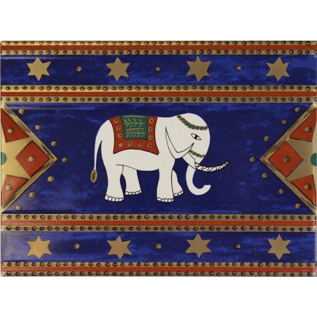 French Villeroy & Boch Elephant Enamel Tiles - Set of 5 For Sale - Image 3 of 5