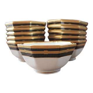 Christian Dior Gold and Black Gaudron Onyx Octagonal Vegetable Bowl - Set of Eleven For Sale
