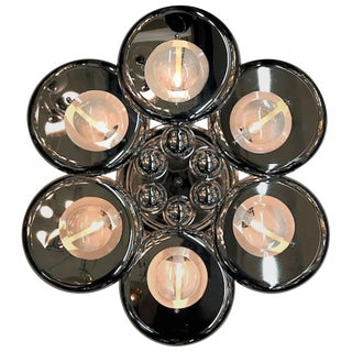 Italian 1970s Sculptural Chrome and Glass Lens Sconce For Sale