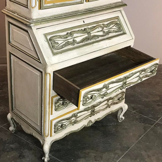 Wood Italian Hand Painted Secretary ~ Bookcase From Torino, Italy For Sale - Image 7 of 12
