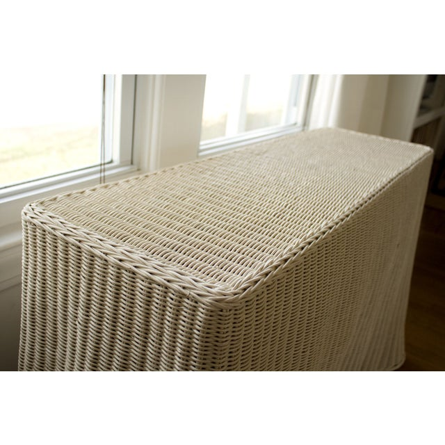 Vintage Skirted Ripple Wicker Console Table For Sale - Image 8 of 8