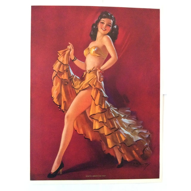 This is a stunning vintage original 1940's pin up print on textured pebbled paper made by the Thos. D. Murphy Calendar...