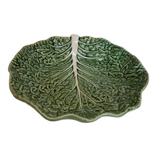 Majolica Green Cabbage Bowl by Bordello Pinheiro Portugal For Sale