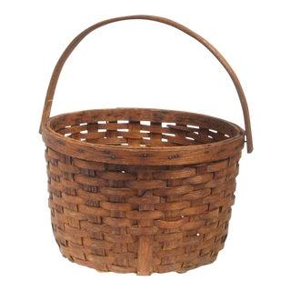 Folk Art Split Oak Apple Basket For Sale