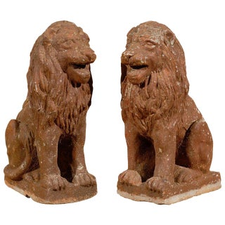 Early 20th Century French Old Stone Lions - a Pair