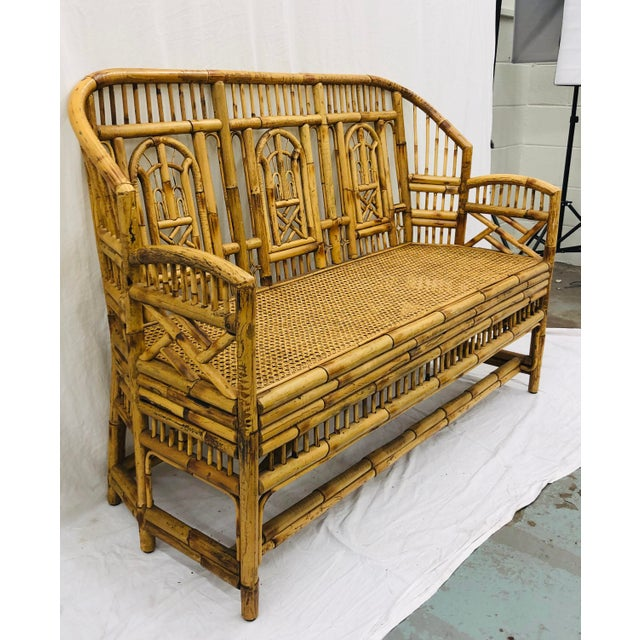 Stunning Vintage Chinese Chippendale Bent Rattan, Scorched Bamboo & Cane Bottom Settee. Complete with Custom Cut...