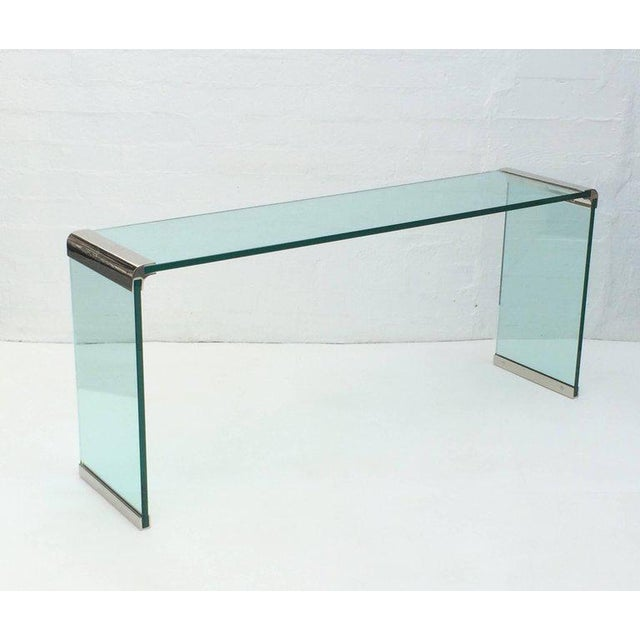 Leon Rosen Nickel and Glass Console Table by Leon Rosen for Pace Collection For Sale - Image 4 of 7