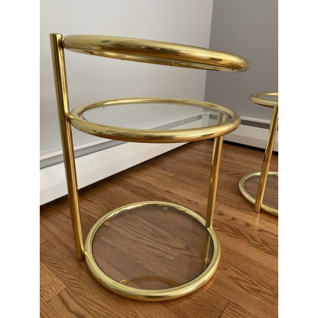 Hollywood Regency Brass and Glass Cocktail Tables - a Pair For Sale - Image 11 of 13