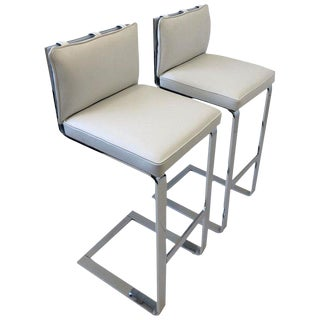 Pair of Chrome and Leather Barstool by Milo Baughman For Sale