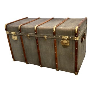 Vintage Canvas Wood & Leather Trunk For Sale