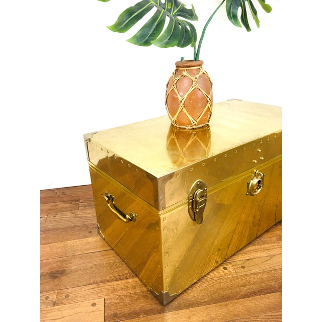 Vintage Campaign Chest Coffee Table Trunk For Sale - Image 9 of 10