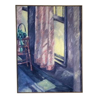 Window Scene Oil on Canvas For Sale