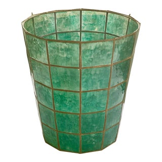 Mid-Century Modern Capiz Shell Wastepaper Basket Green For Sale