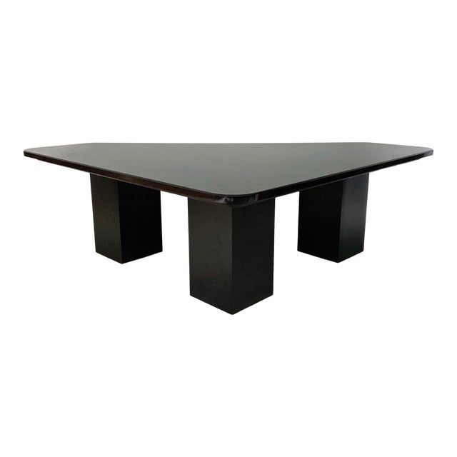Vintage Modern Sculptural Black Marble Coffee Table For Sale
