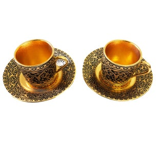 Turkish Coffee Demitasse Set of 2 Cups + Saucers in Box For Sale