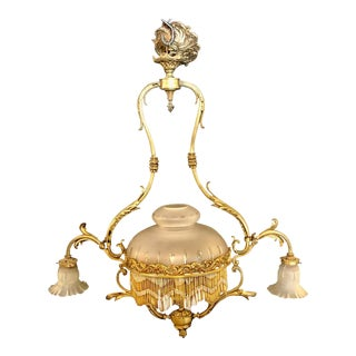 French Victorian Bronze Chandelier For Sale