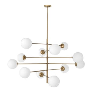 Vintage Opal Globe Tortora Chandelier For Sale
