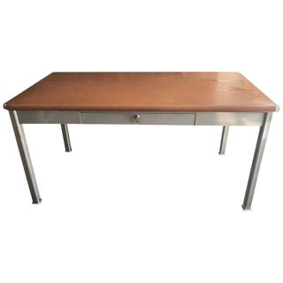 Midcentury Tanker Desk with Linoleum Top and Steel Corner Bumpers