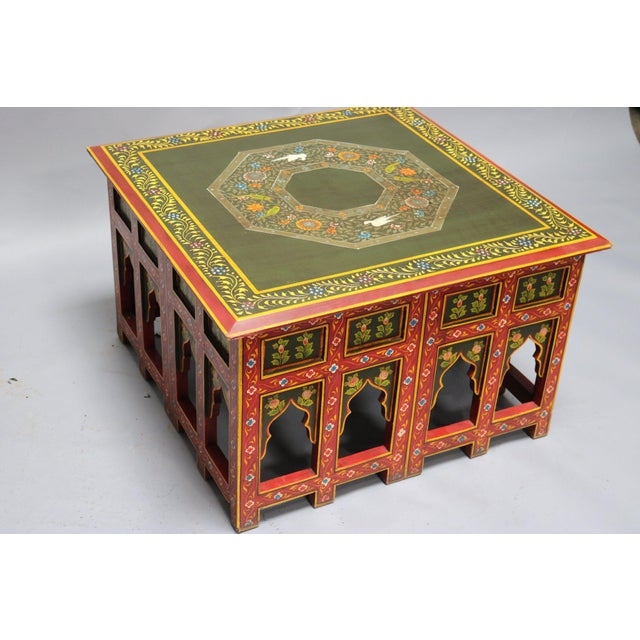 Asian Asian Painted Wooden Coffee Table For Sale - Image 3 of 6