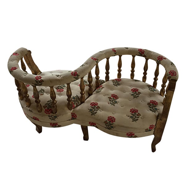 French Tete a Tete Gilded Wood Tufted Sofa - Image 1 of 10