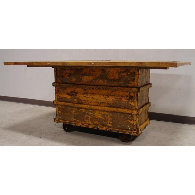 Reclaimed Textile Mill Rolling Cart Harvest Table - Image 5 of 6