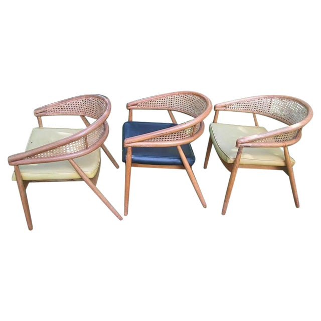 1960s James Mont Cane Back Chairs - Set of 4 - Image 1 of 10