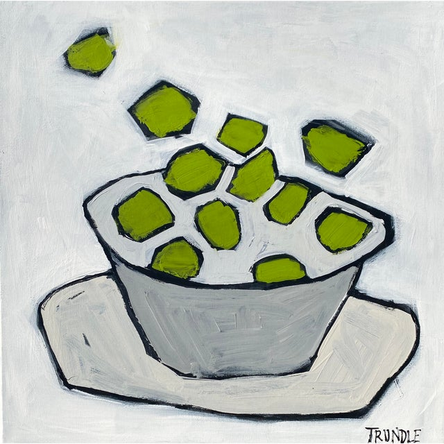 """""""Limes"""" Contemporary Abstract Still Life Acrylic Painting by Sarah Trundle For Sale"""