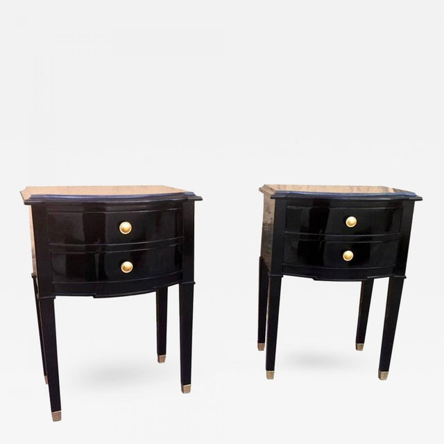 Maison Jansen Refined Pair of Black Lacquered Bedsides or Side Tables For Sale - Image 6 of 6