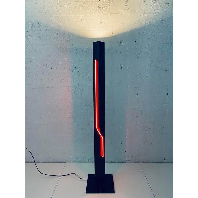 1980s Rudi Stern Postmodern Red Neon Floor Lamp for George Kovacs, 1980s For Sale - Image 5 of 13