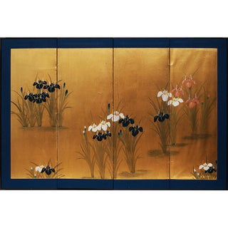 1950s Japanese Iris Ensata Four-Panel Screen For Sale