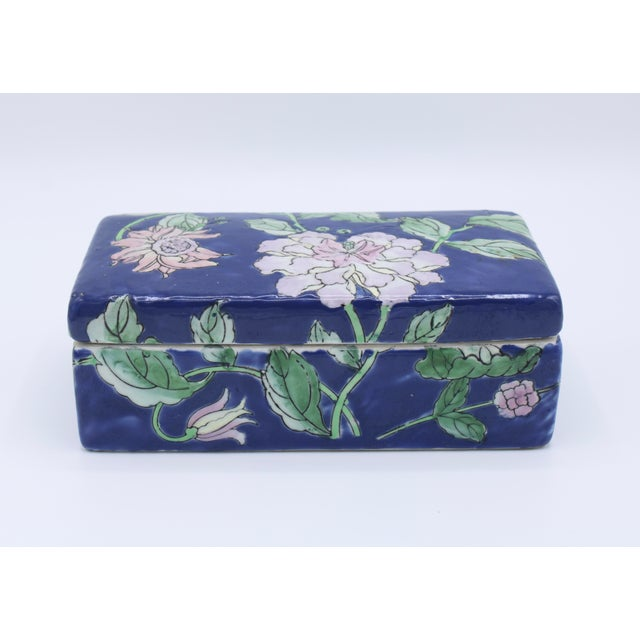 Antique Asian Ceramic Floral Peonies Jewelry Box For Sale - Image 13 of 13
