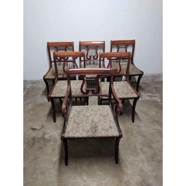 Textile 1940s Americana Lyre Dining Chairs - Set of 6 For Sale - Image 7 of 7