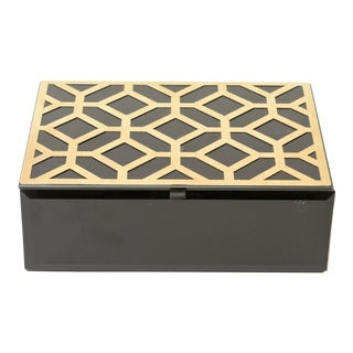 Contemporary Resin & Lucite Composition Brass Jewelry/Accessory Box For Sale