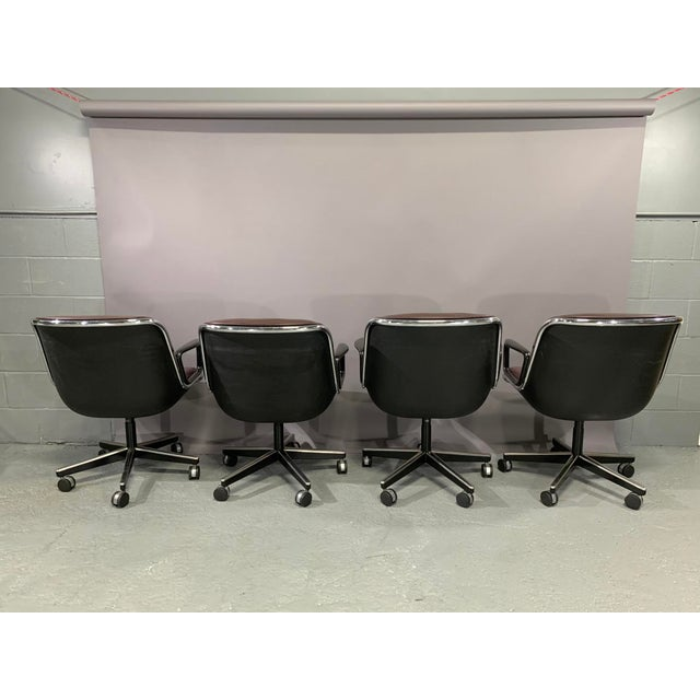 Industrial Leather Executive Chairs by Charles Pollock for Knoll International - Set of 4 For Sale - Image 3 of 13