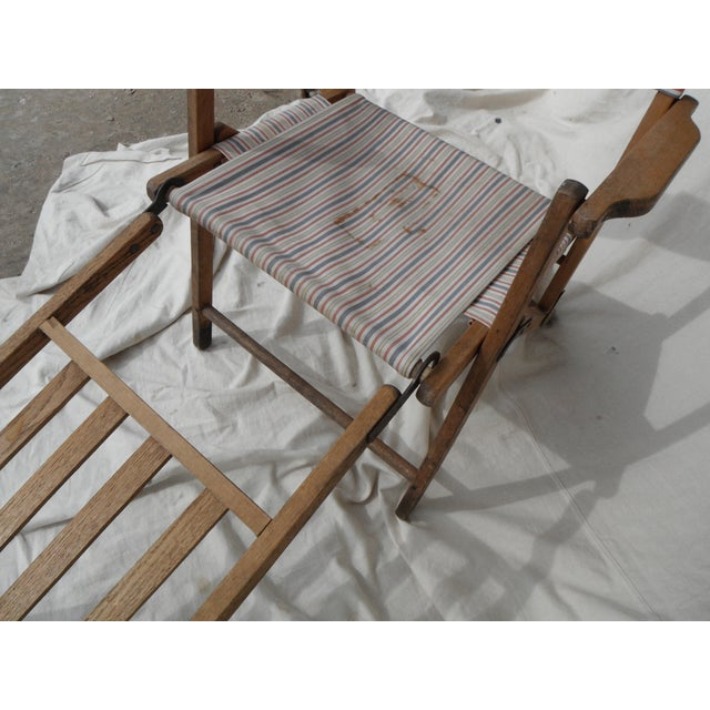 Fabric Antique Canvas Steamer Chair & Footrest For Sale - Image 7 of 8