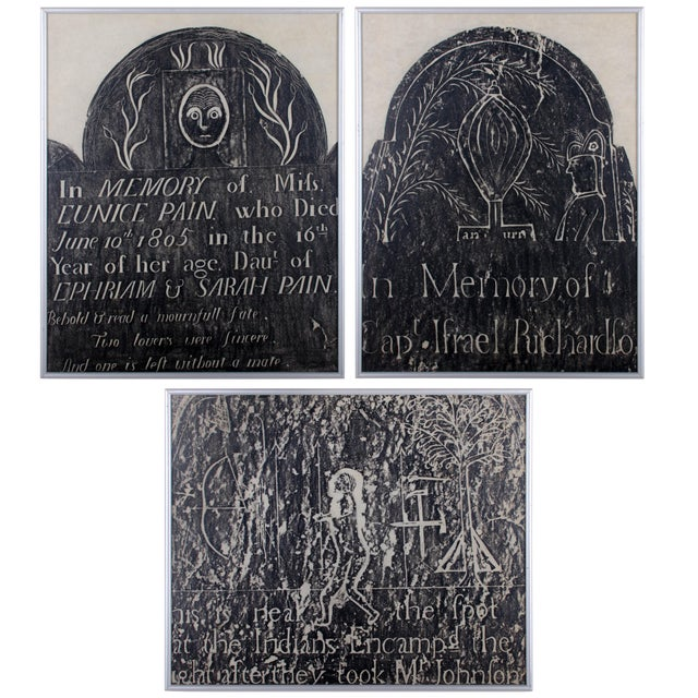 Early New England Gravestone and Marker Rubbings - Set of 3 For Sale