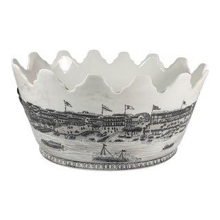 Vintage Black & White Ceramic Champagne Cooler/ Ice Bucket/ Jardiniere For Sale