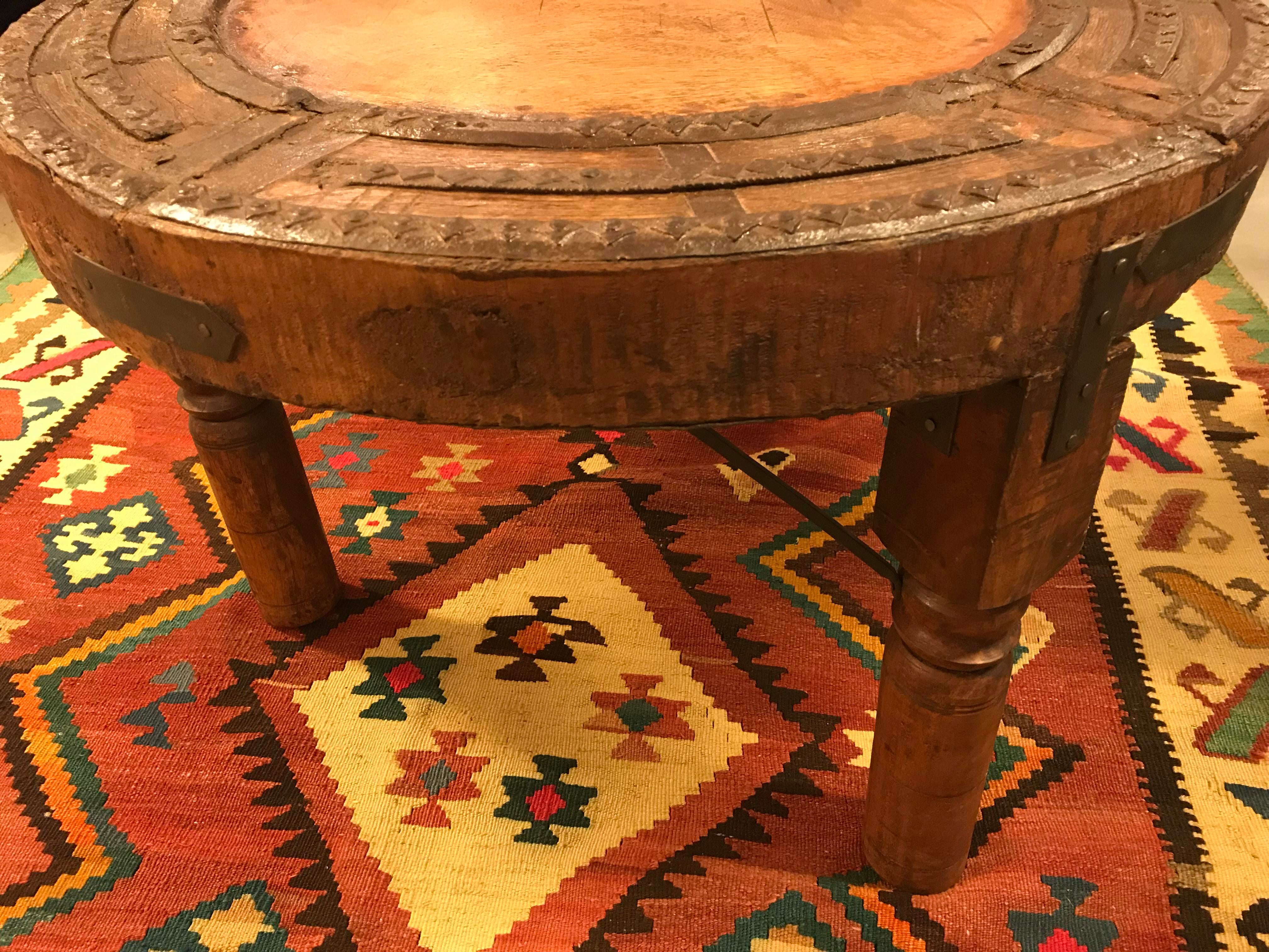 Antique Indonesian Wagon Wheel, Made Into A Side Table, Medium For Sale In  Miami