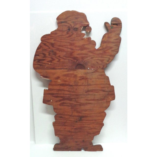 Vintage Santa Claus Wood Sign For Sale - Image 4 of 5