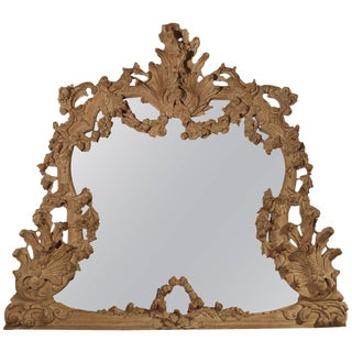 Large Antique Stripped Walnut Wood Rococo Style Mirror For Sale