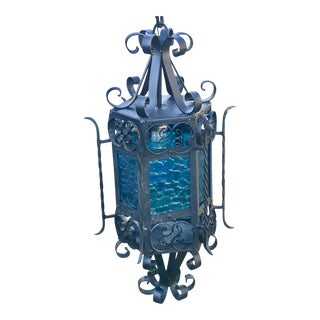 1920s Vintage Iron Pendant Light With Blue Glass Panels Made in Mexico For Sale