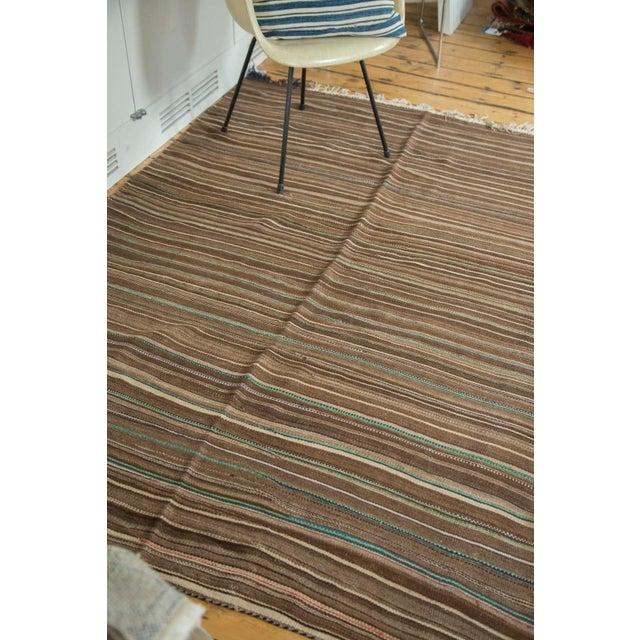 Vintage Moroccan Brown Stripe Kilim Rug - 5' X 7' For Sale - Image 5 of 7