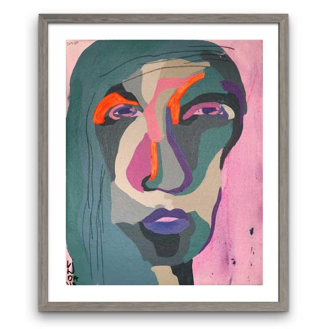 This abstract portrait is by contemporary artist Linda Ward of Detroit. This portrait is #263 out of a series of 500...