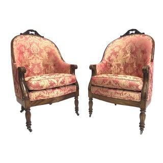Louis XVI Mahogany Bergere Chairs - A Pair