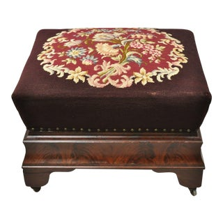 Victorian Empire Large Crotch Flame Mahogany Needlepoint Box Seat Ottoman For Sale