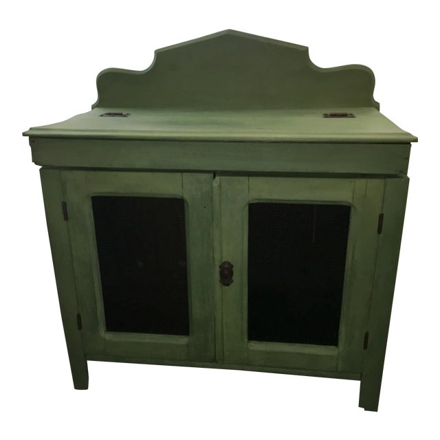 Antique Painted Green Grain Cabinet For Sale