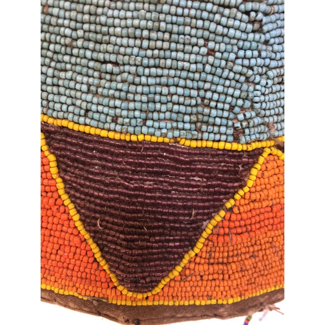 West African hand beaded head dress crown from Yoruba, Nigeria. This artistic beautiful and functional art piece is...