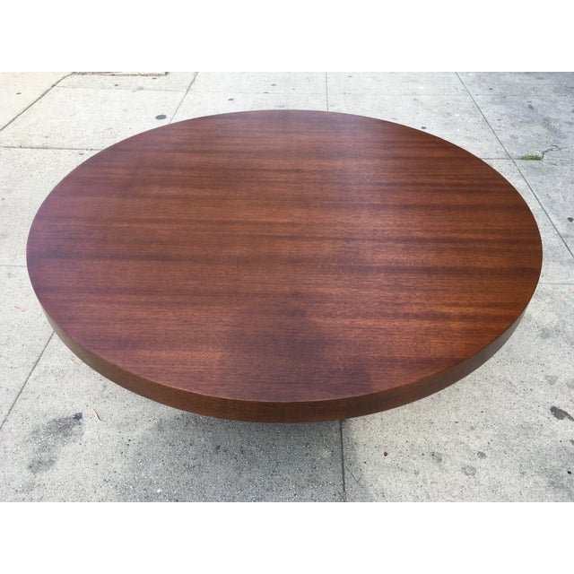 1950s Art Deco Architectural Round Mahogany Coffee Table For Sale - Image 10 of 11