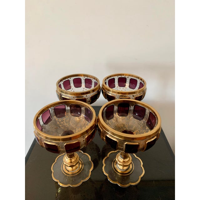 1930s Moser Bohemian Crystal Cabochon Coupes- Set of 4 For Sale In Los Angeles - Image 6 of 9