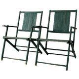 Image of Vintage Wood Folding Chairs in Emerald - A Pair For Sale